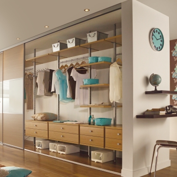 Oak Aura reach-in wardrobe interior.