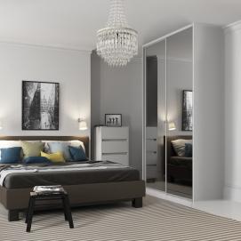 Doors shown: 914mm 2x single panel mirror door with silver frame. Size of opening width : 1802mm